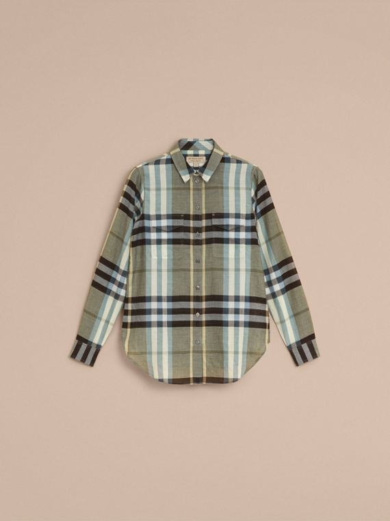 Check Cotton Shirt in Stone Green - Women | Burberry Australia - cell image 3