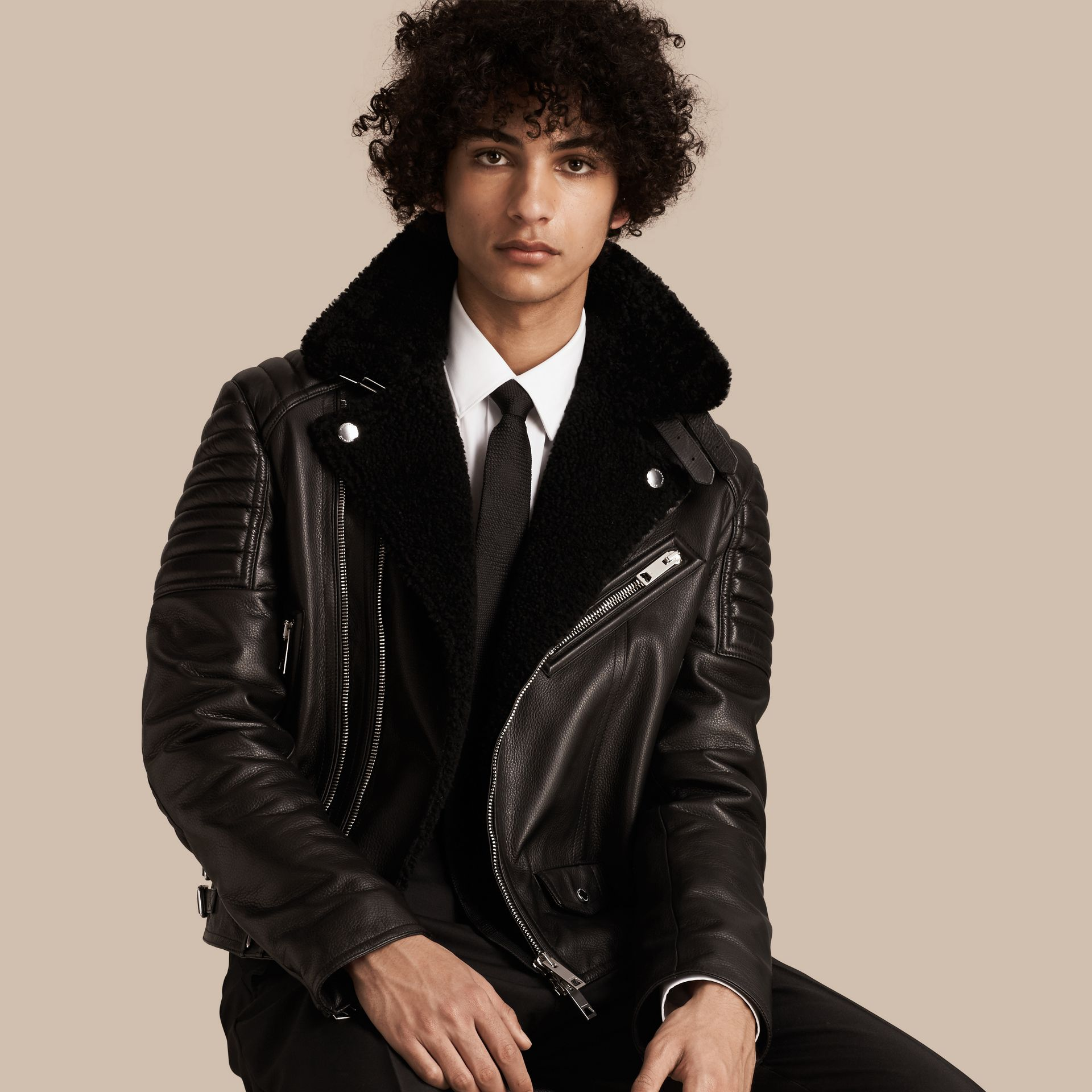 Black Shearling-lined Leather Biker Jacket - gallery image 1