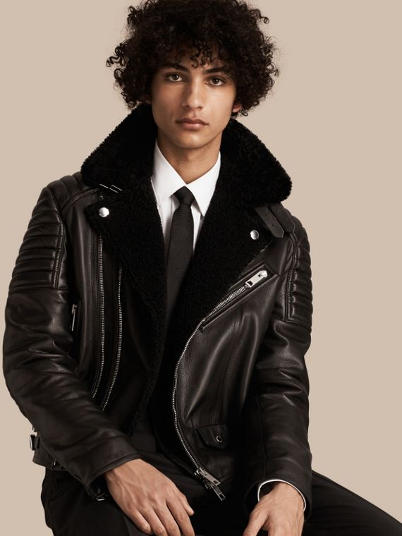 Shearling-lined Leather Biker Jacket