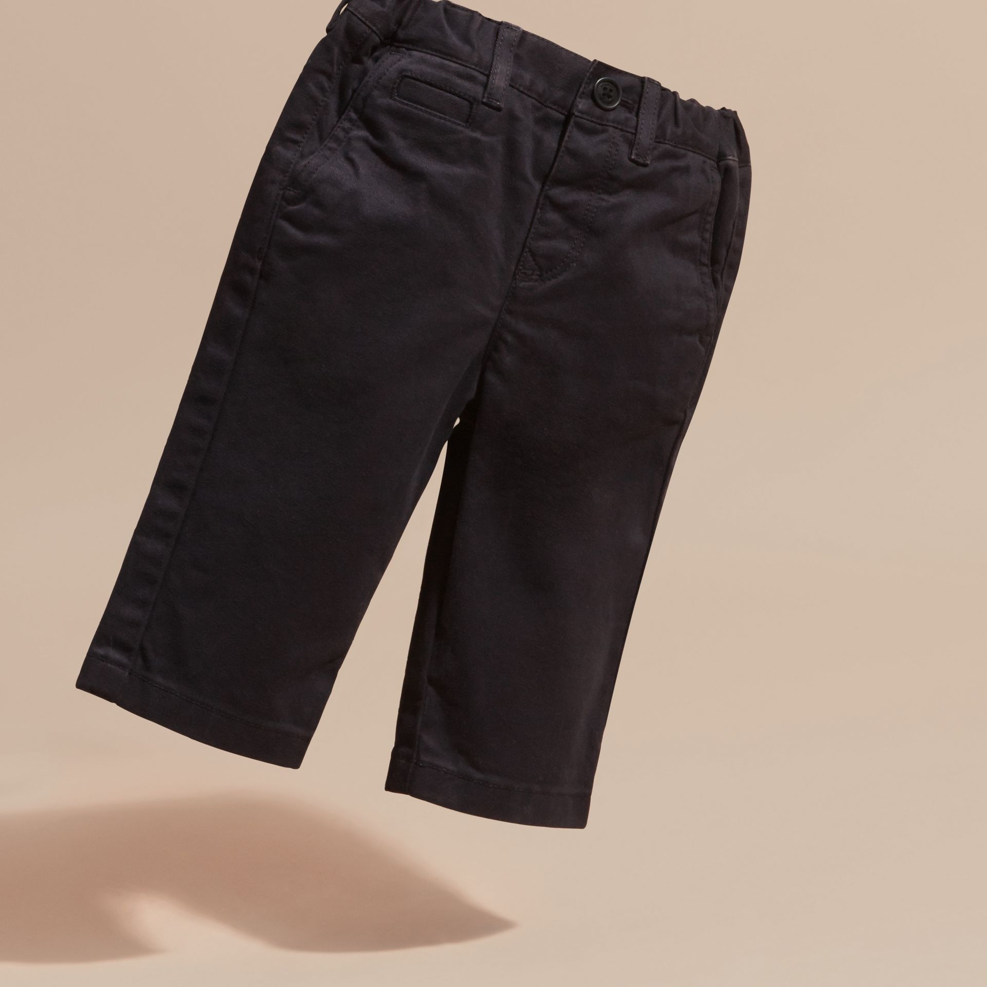 Navy Stretch Cotton Twill Chinos - gallery image 3