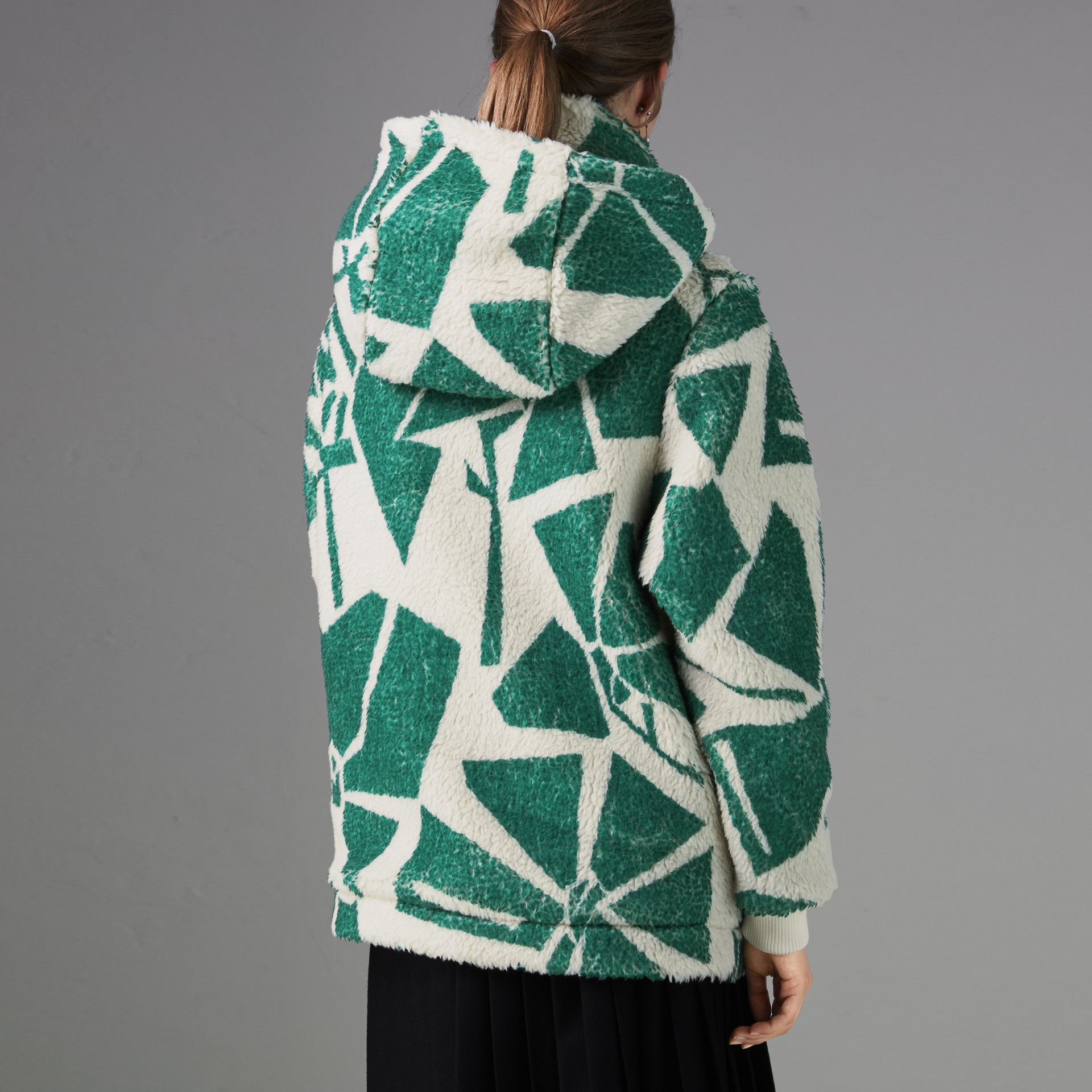 Floral Print Cashmere-silk Fleece Zipped Hoodie in Forest Green - Women | Burberry - gallery image 2