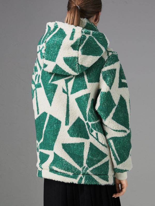 Floral Print Cashmere-silk Fleece Zipped Hoodie in Forest Green - Women | Burberry United States - cell image 2