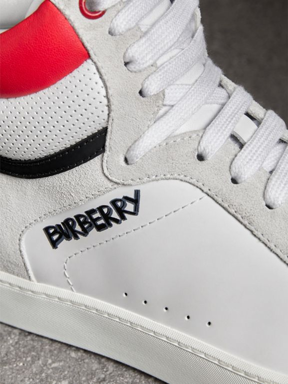 Leather and Suede High-top Sneakers in Optic White/bright Red - Women | Burberry - cell image 1