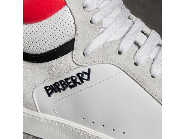 Leather and Suede High-top Sneakers in Optic White/bright Red - Women | Burberry Australia - cell image 1