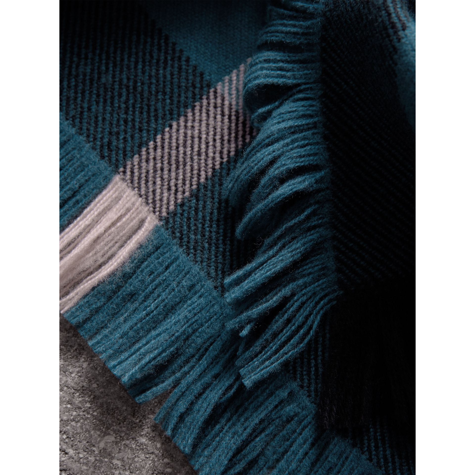 Fringed Check Wool Scarf in Steel Blue | Burberry - gallery image 2