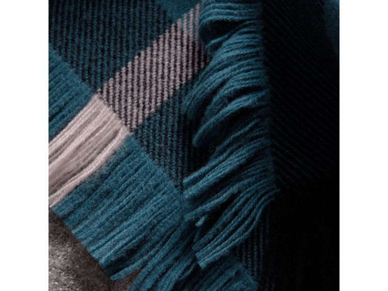 Fringed Check Wool Scarf in Steel Blue | Burberry - cell image 1