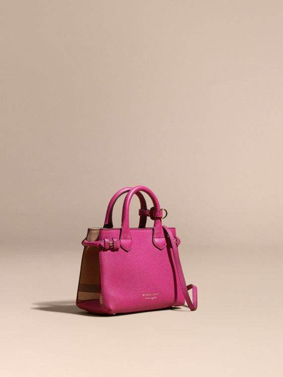 Borsa The Baby Banner in pelle con motivo House check Fucsia Brillante