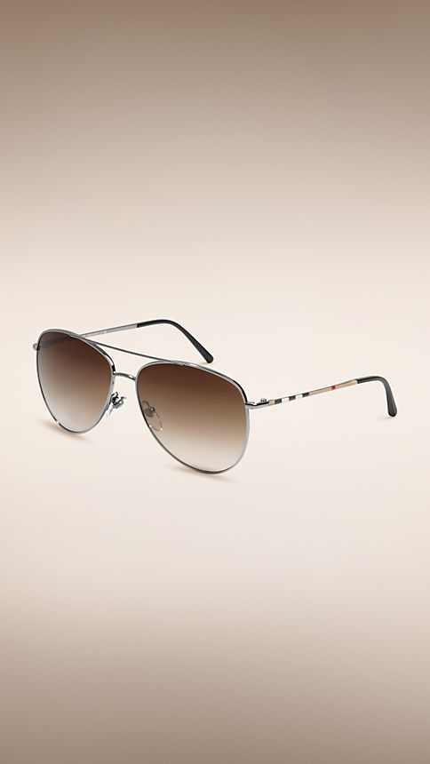 Nickel Check Arm Aviator Sunglasses - Image 1