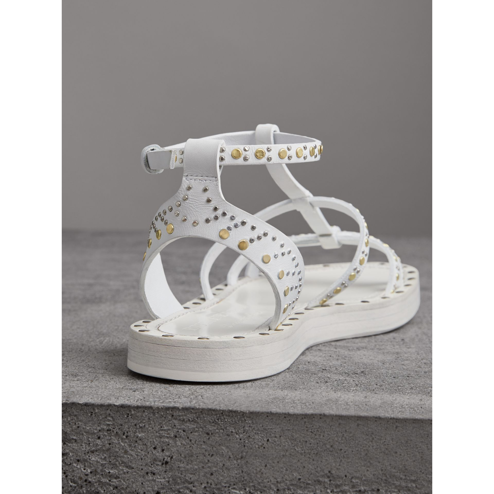 Riveted Leather Gladiator Sandals in Optic White - Women | Burberry - gallery image 3