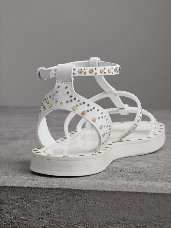 Riveted Leather Gladiator Sandals in Optic White - Women | Burberry - cell image 2