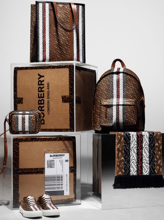 Monogram Stripe Print E-canvas Backpack in Bridle Brown | Burberry Australia - cell image 1