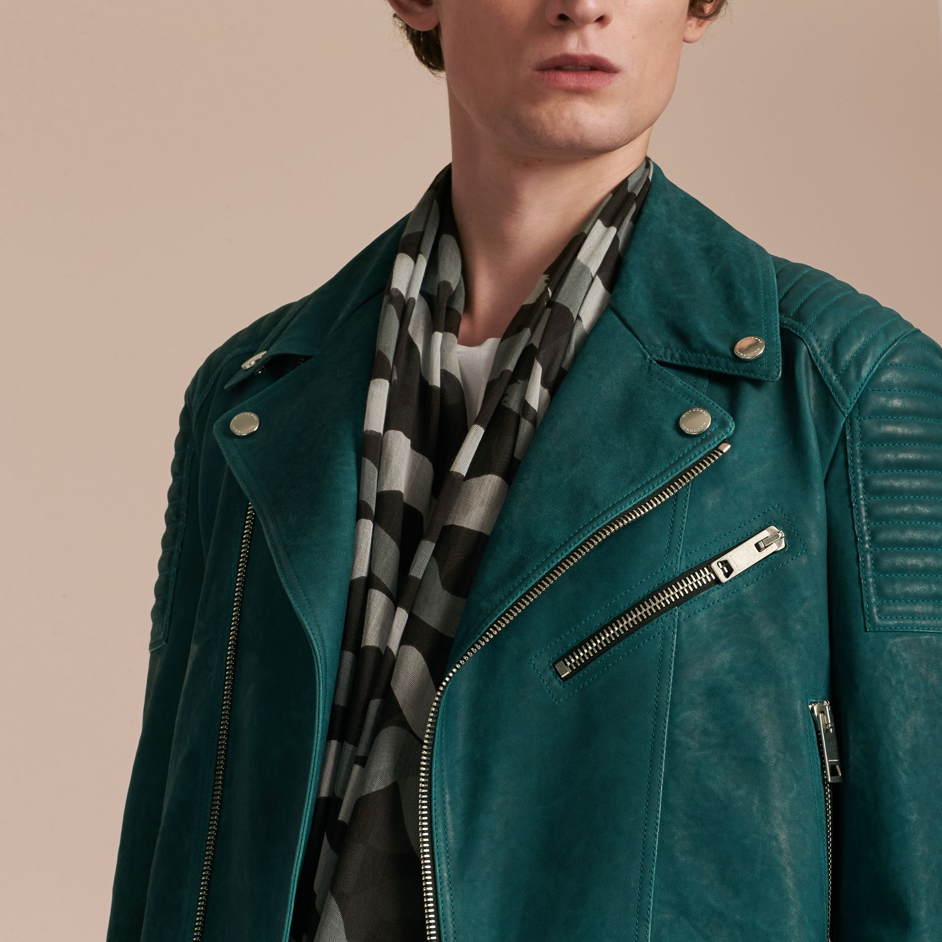Quilted Detail Lambskin Biker Jacket - gallery image 5