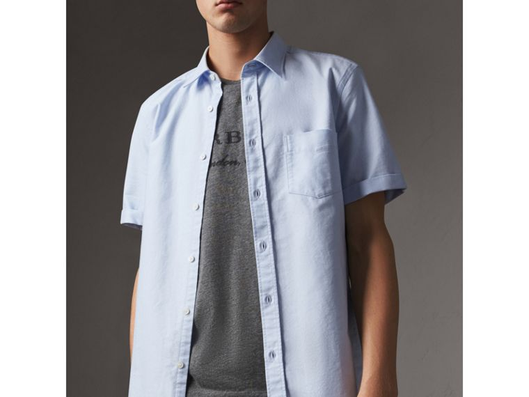 Check Detail Short-Sleeved Cotton Oxford Shirt in Cornflower Blue - Men | Burberry United States - cell image 4