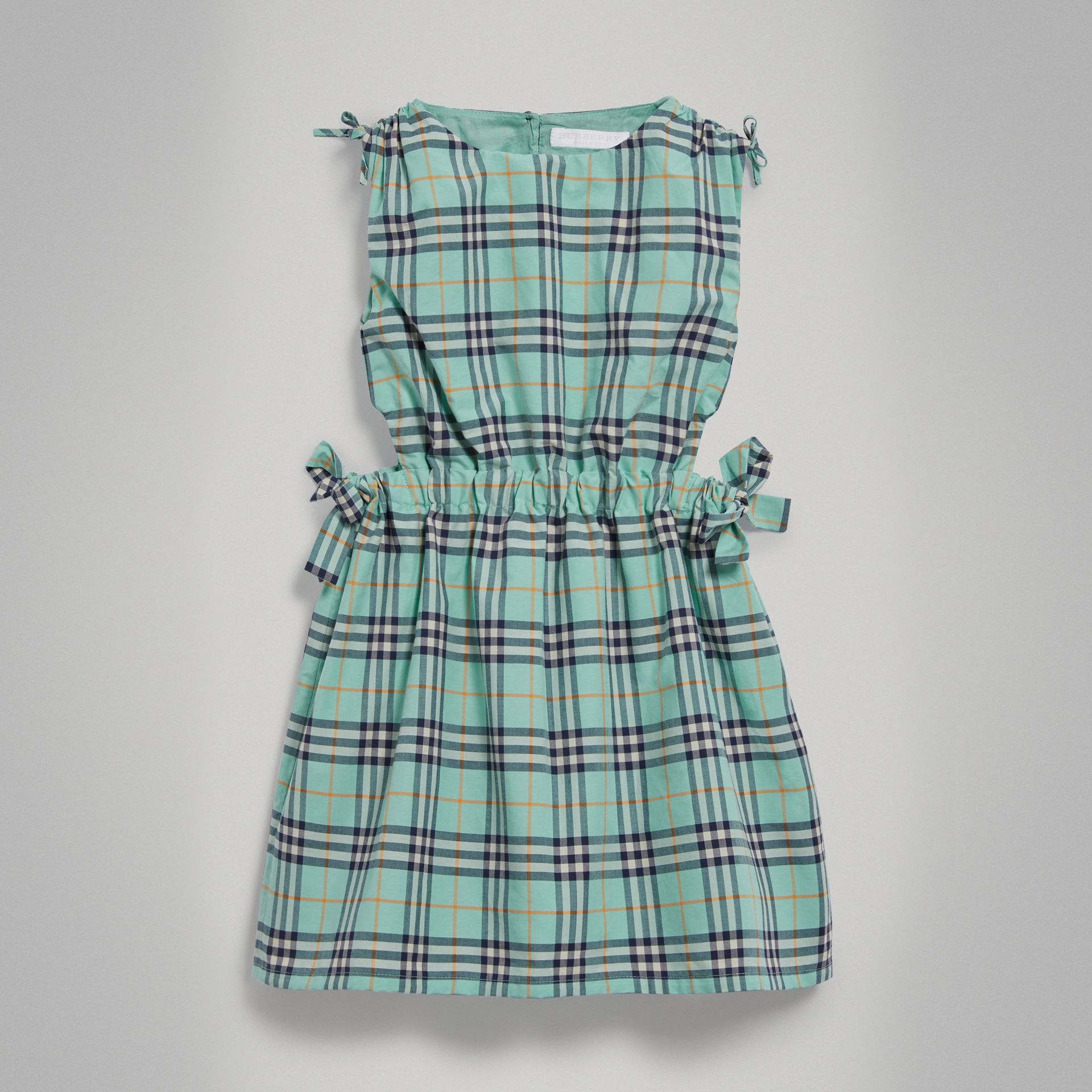 Tie Detail Check Cotton Dress in Bright Aqua - Girl | Burberry - gallery image 0