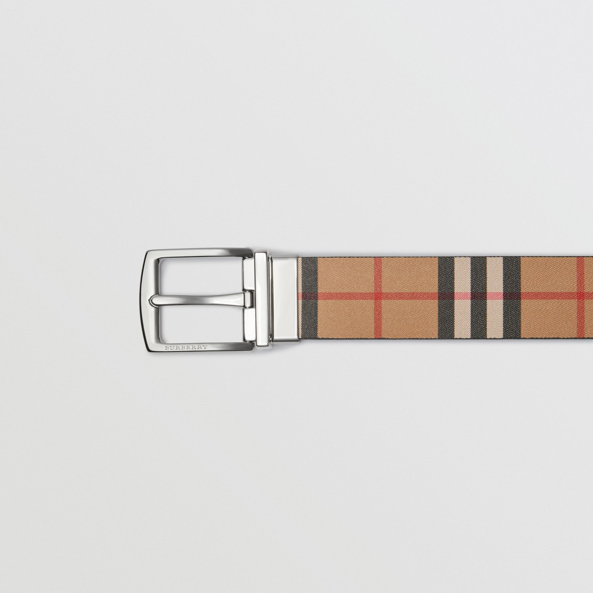 Reversible Vintage Check Leather Belt in Black - Men | Burberry - gallery image 1
