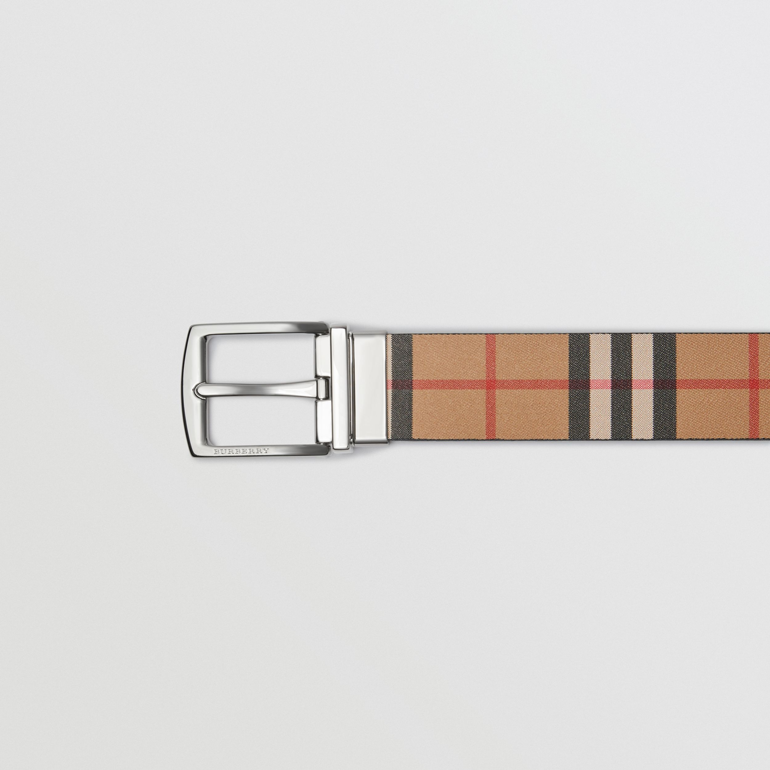Reversible Vintage Check Leather Belt in Black - Men | Burberry - 2