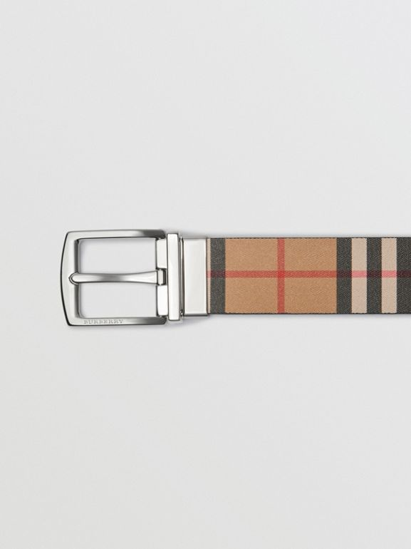 Reversible Vintage Check Leather Belt in Black - Men | Burberry United States - cell image 1