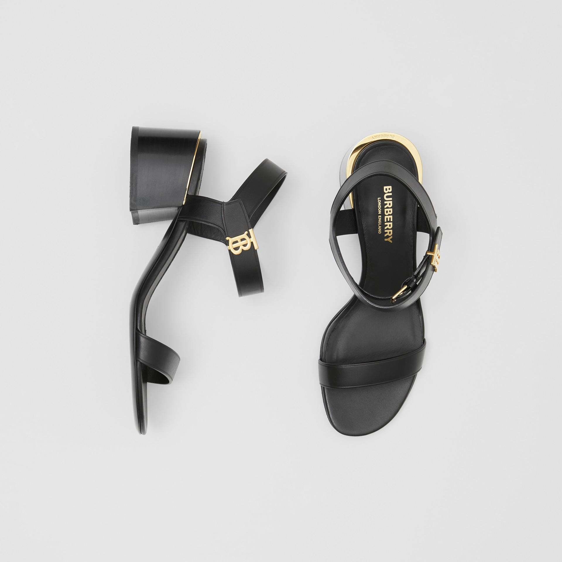 Monogram Motif Leather Block-heel Sandals in Black - Women | Burberry - gallery image 0