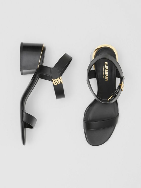 Monogram Motif Leather Block-heel Sandals in Black