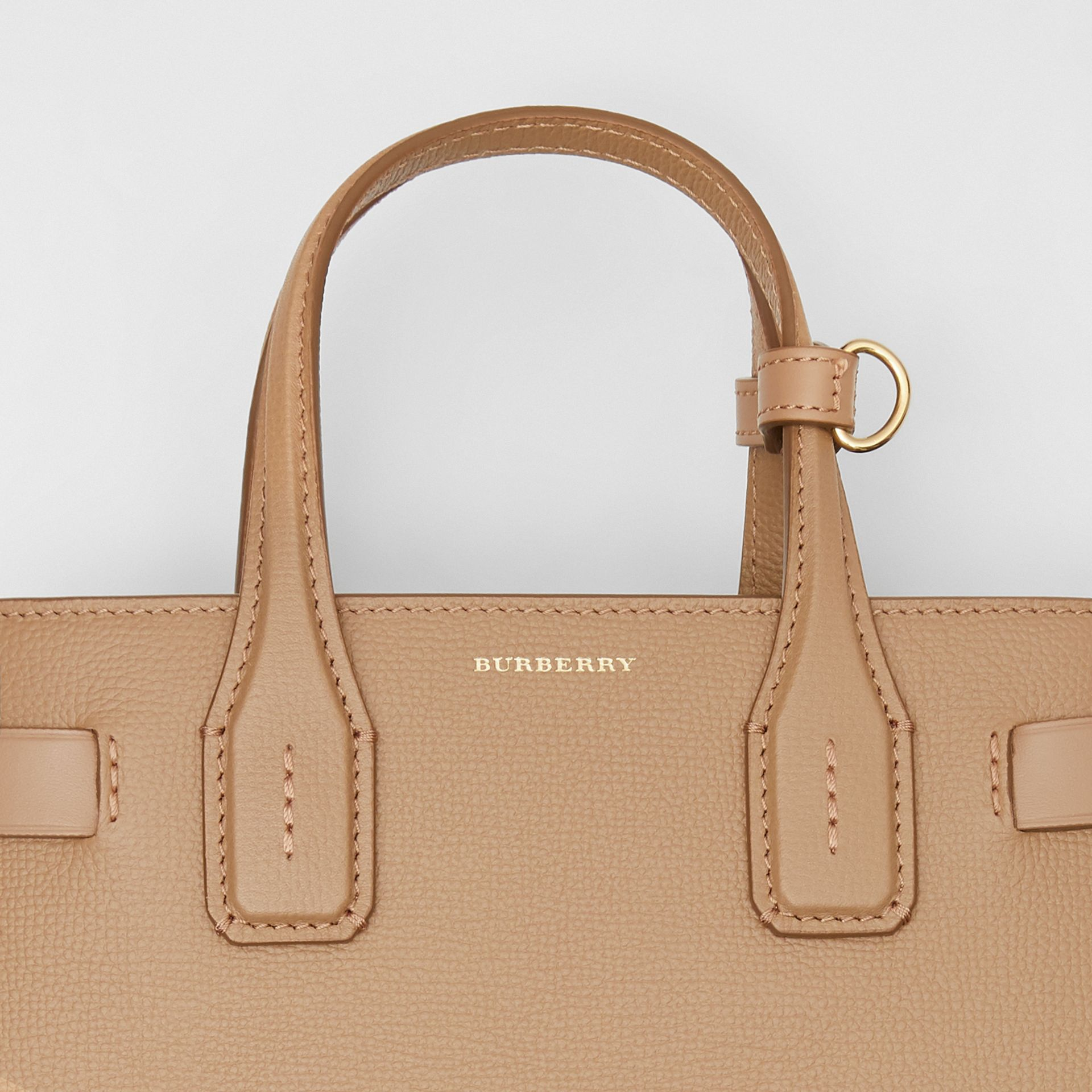 The Small Banner in Leather and Vintage Check in Camel - Women | Burberry United States - gallery image 1
