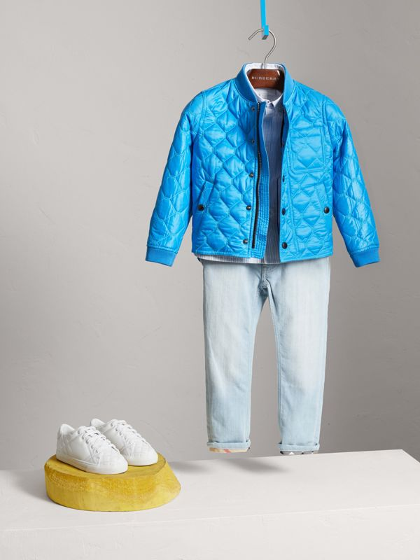 Contrast Topstitch Detail Quilted Jacket in Cyan Blue | Burberry - cell image 2