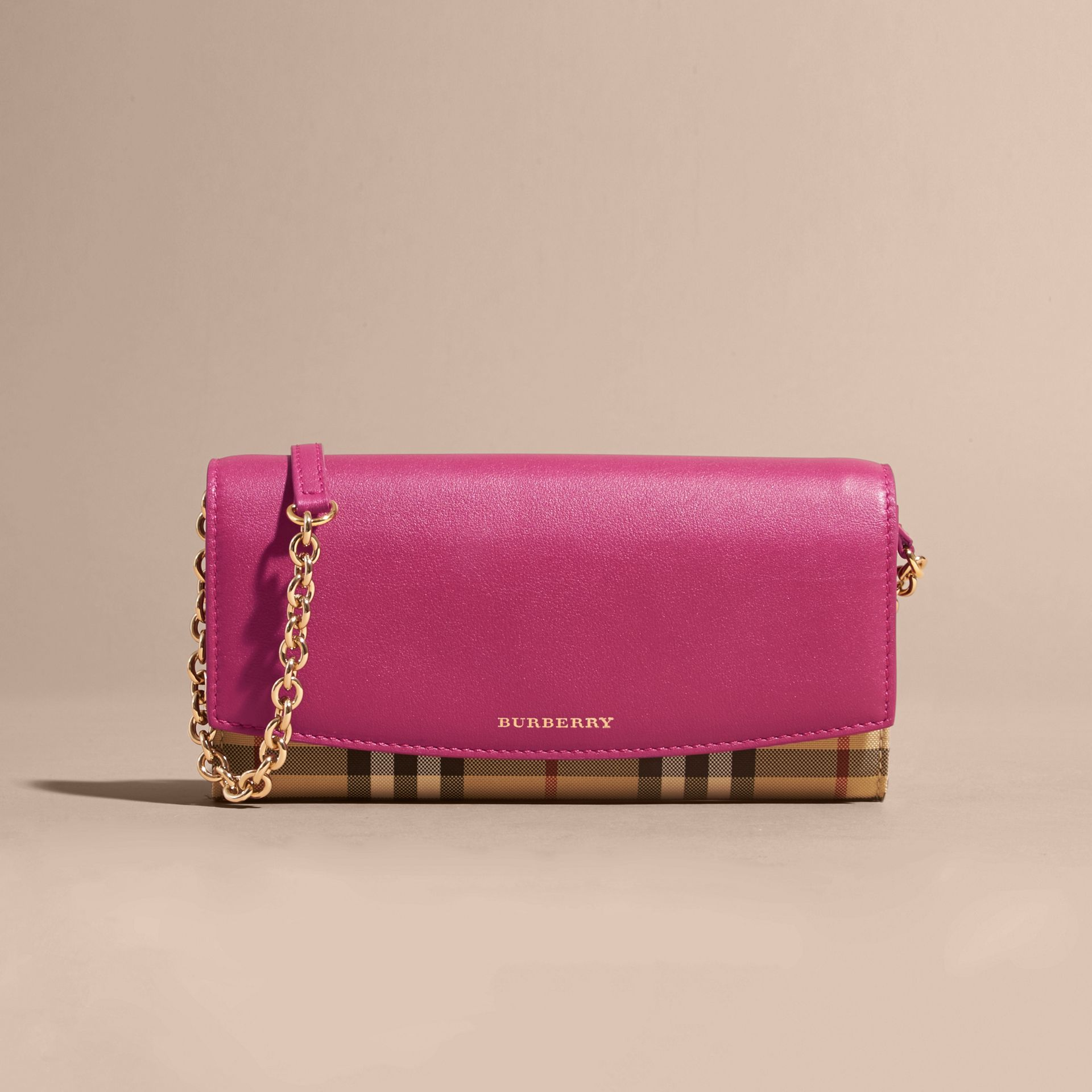Horseferry Check and Leather Wallet with Chain Brilliant Fuchsia - gallery image 9