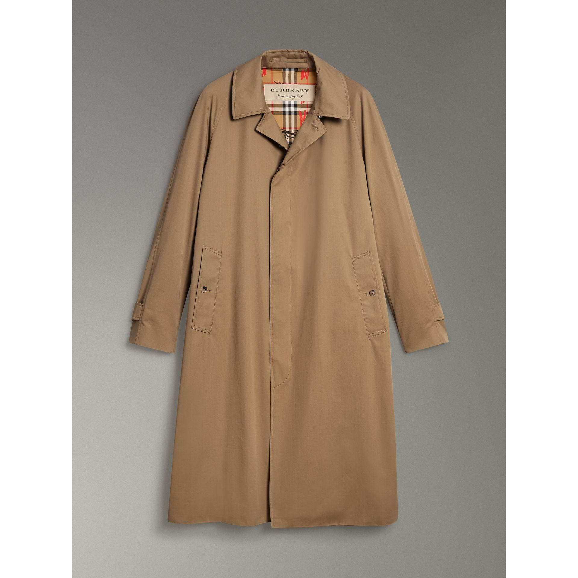 Cotton Gabardine Car Coat in Camel - Men | Burberry Singapore - gallery image 3