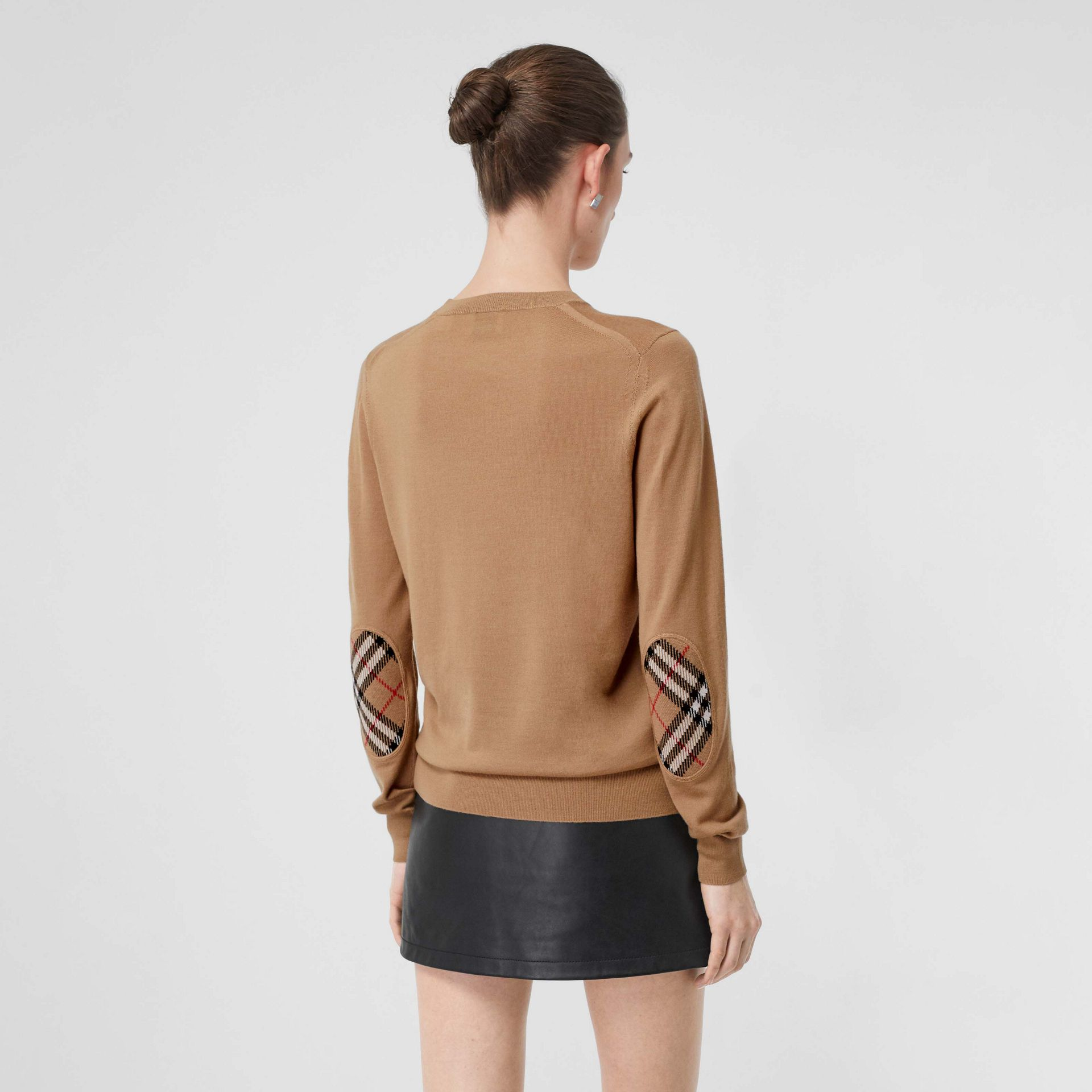 Vintage Check Detail Merino Wool Sweater in Camel - Women | Burberry United Kingdom - gallery image 2