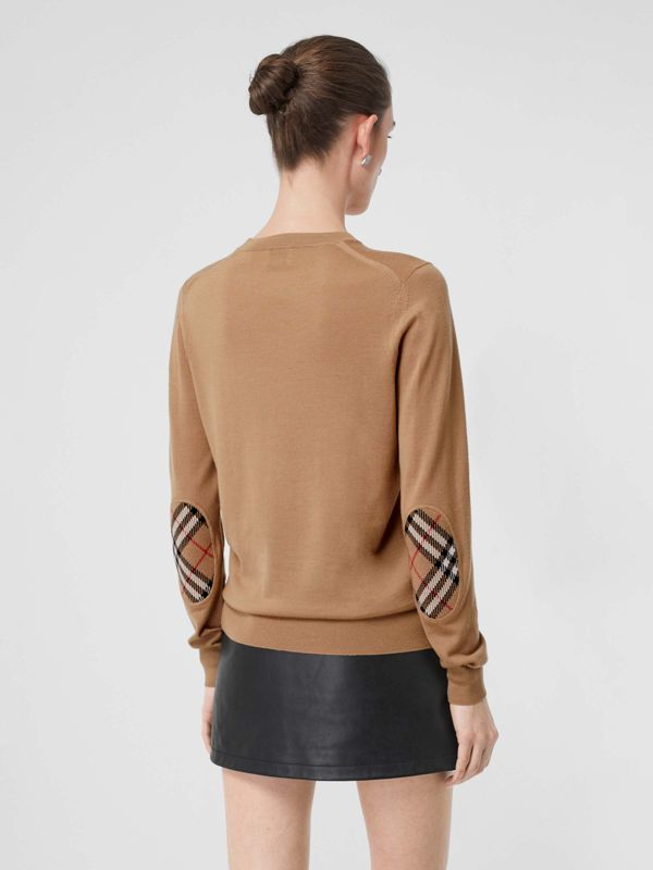 Vintage Check Detail Merino Wool Sweater in Camel - Women | Burberry United Kingdom - cell image 2