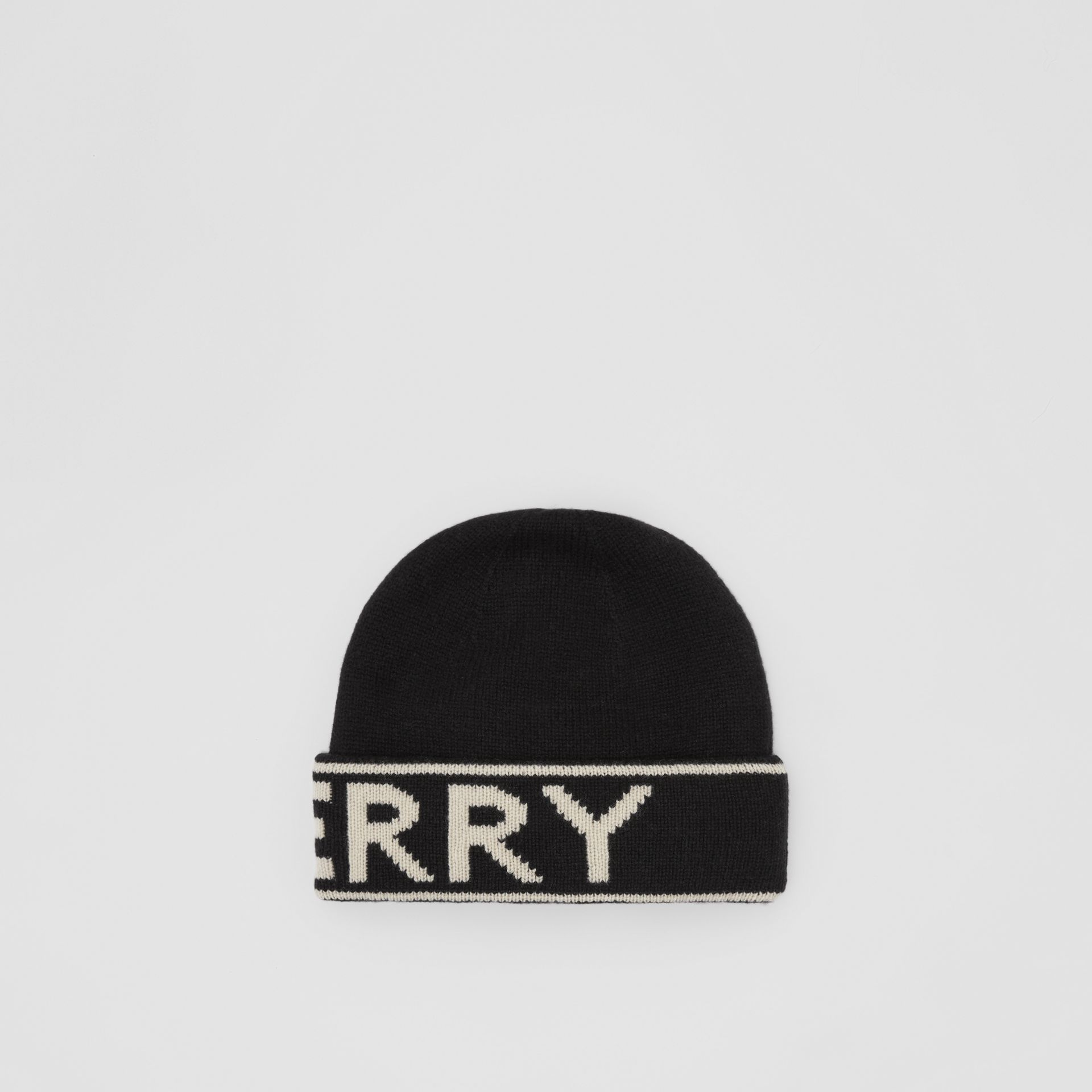 Logo Intarsia Cashmere Beanie in Black | Burberry - gallery image 4