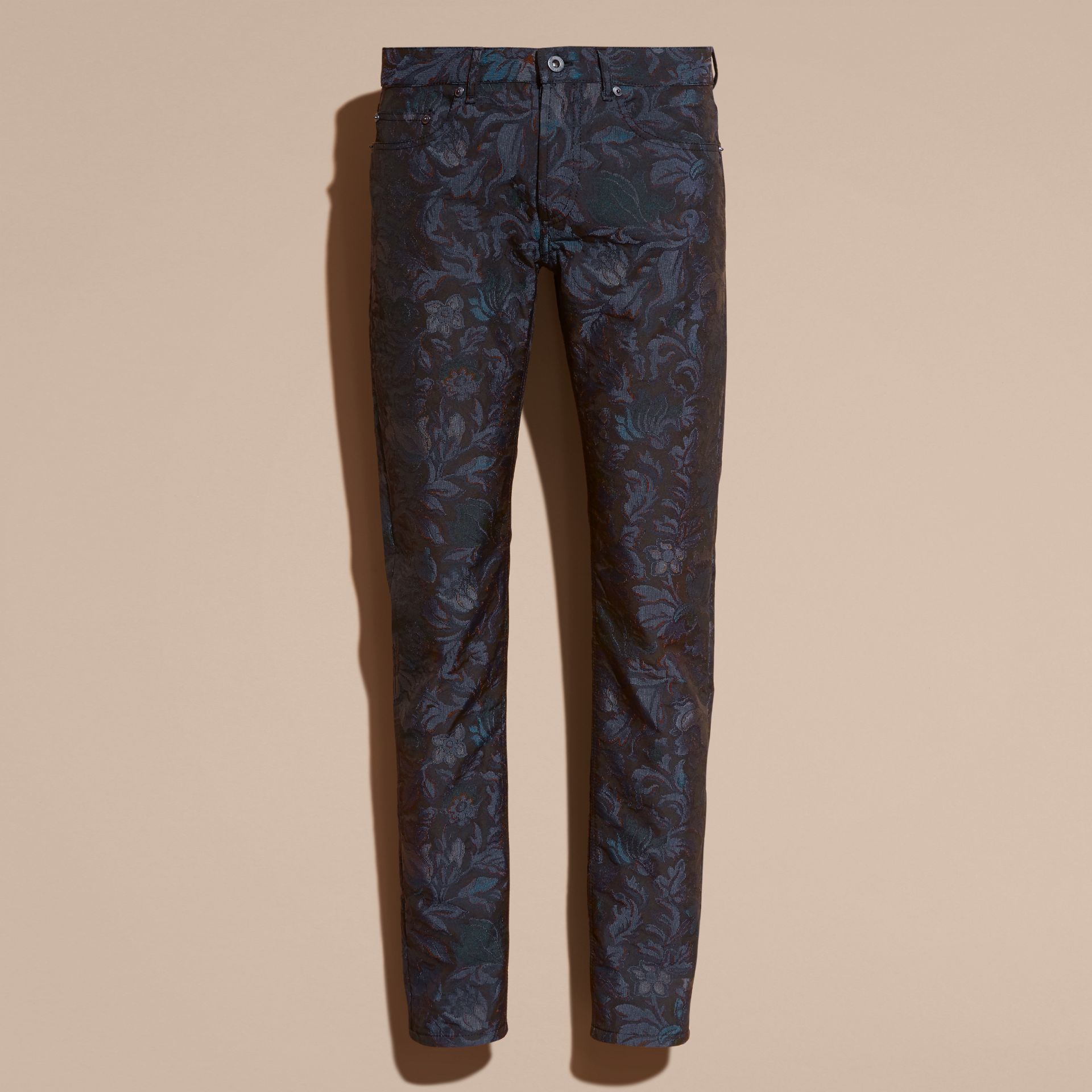 Slim Fit Floral Jacquard Jeans in Navy - gallery image 4