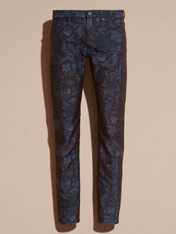 Slim Fit Floral Jacquard Jeans in Navy - cell image 3