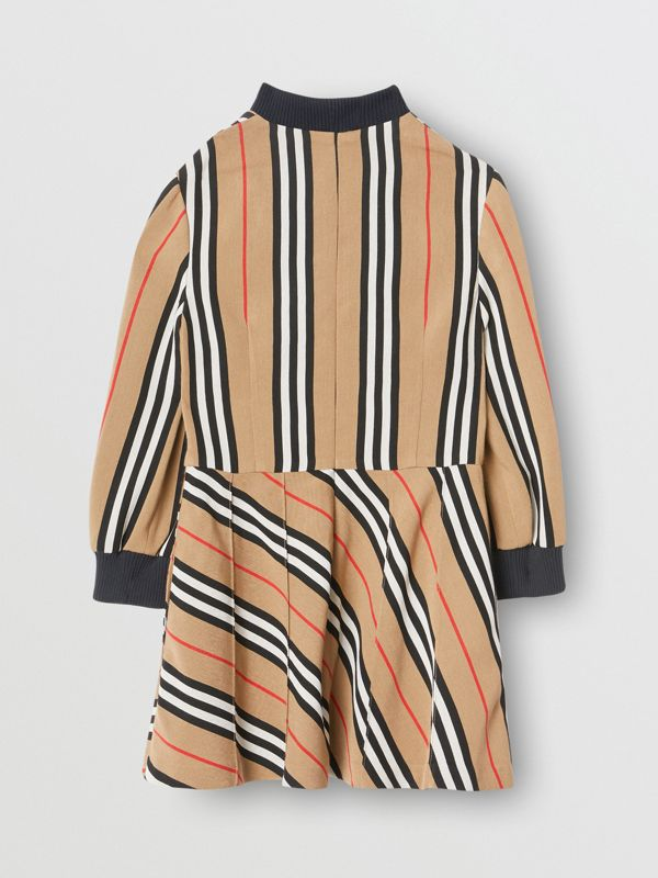 Long-sleeve Icon Stripe Turtleneck Dress in Archive Beige | Burberry - cell image 3