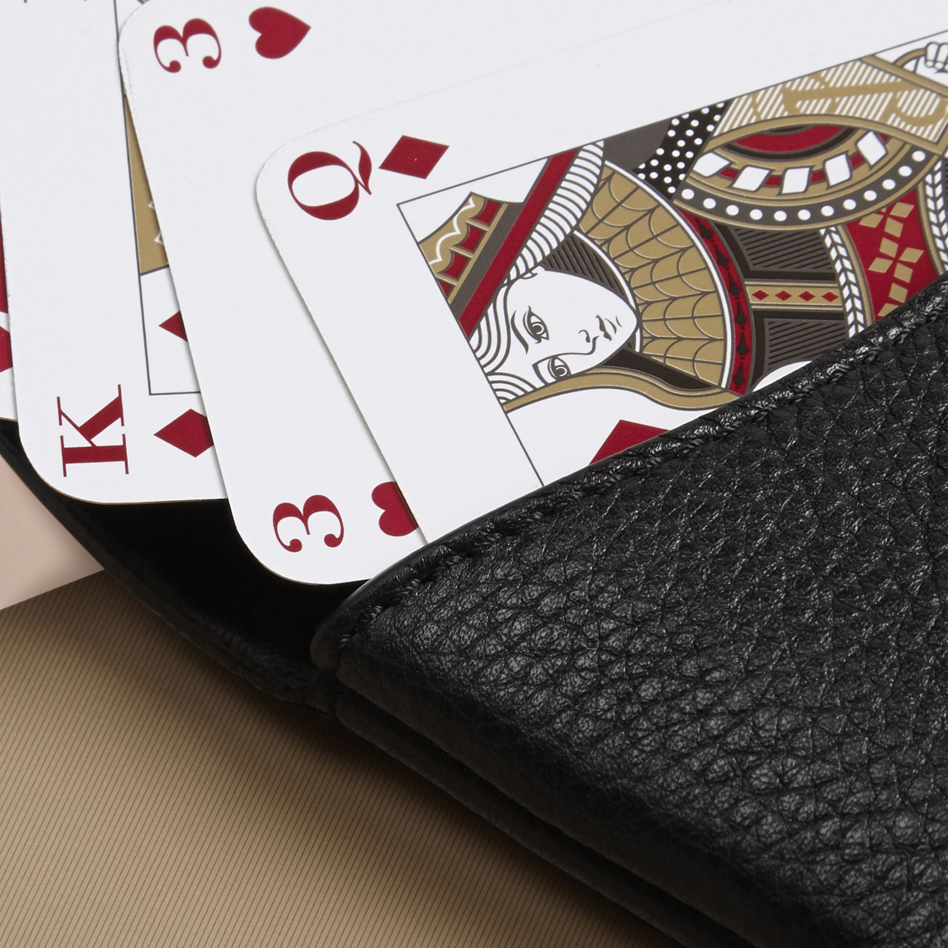 Black Grainy Leather Playing Card Case Black - gallery image 2