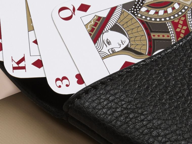 Black Grainy Leather Playing Card Case Black - cell image 1