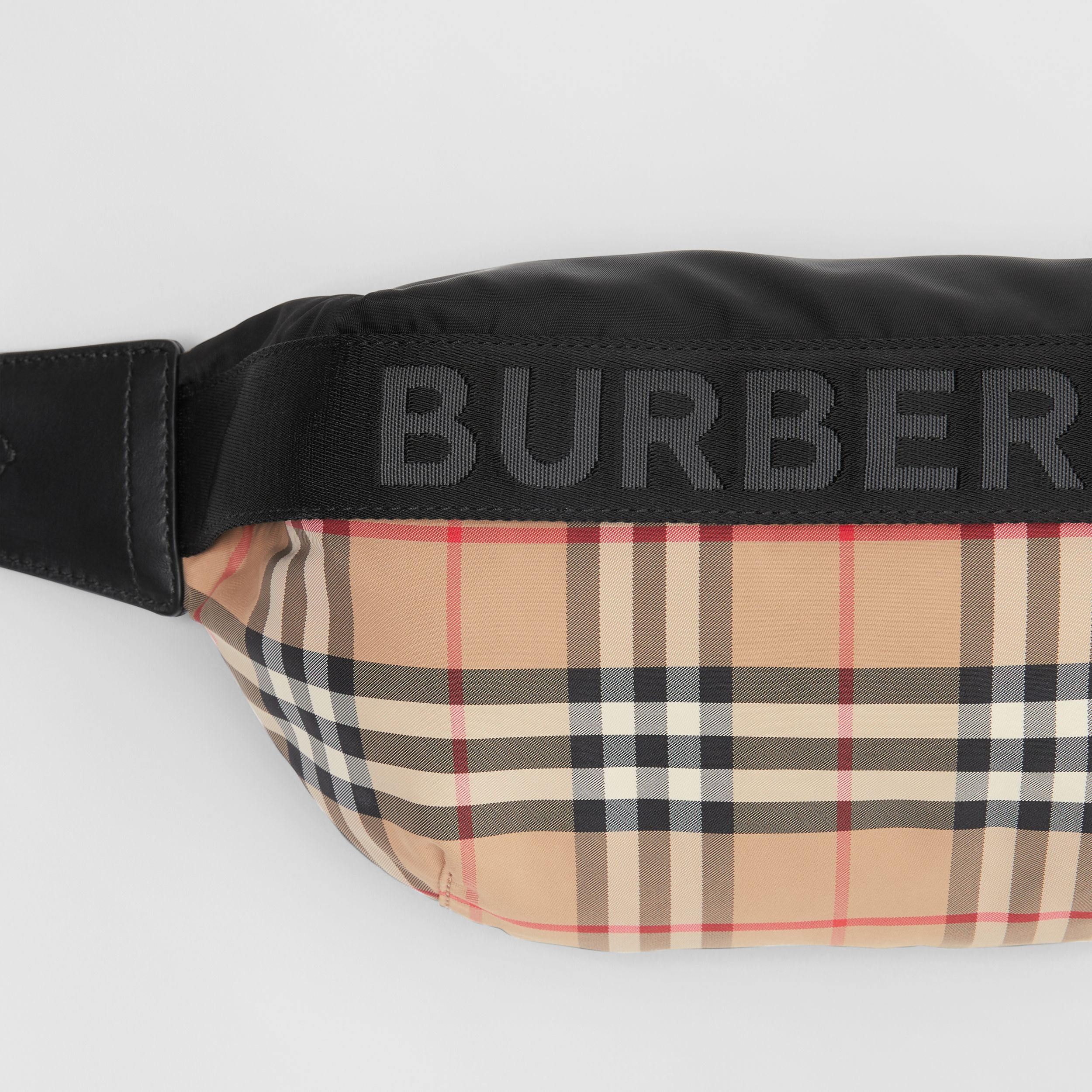 Medium Vintage Check ECONYL® Bum Bag in Archive Beige - Women | Burberry - 2