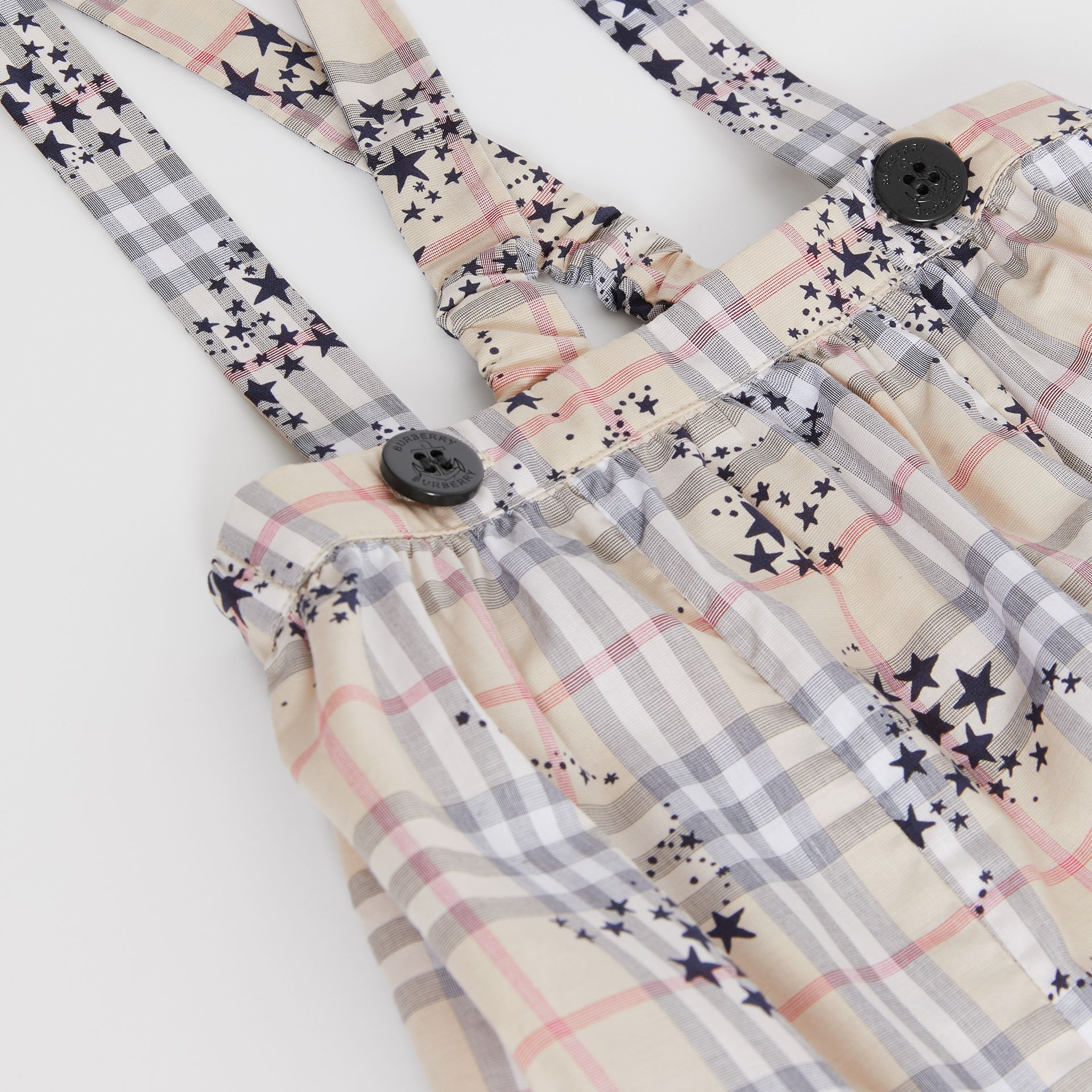 Star Print Check Cotton Two-piece Baby Gift Set in Bright Navy - Children | Burberry Canada - gallery image 1