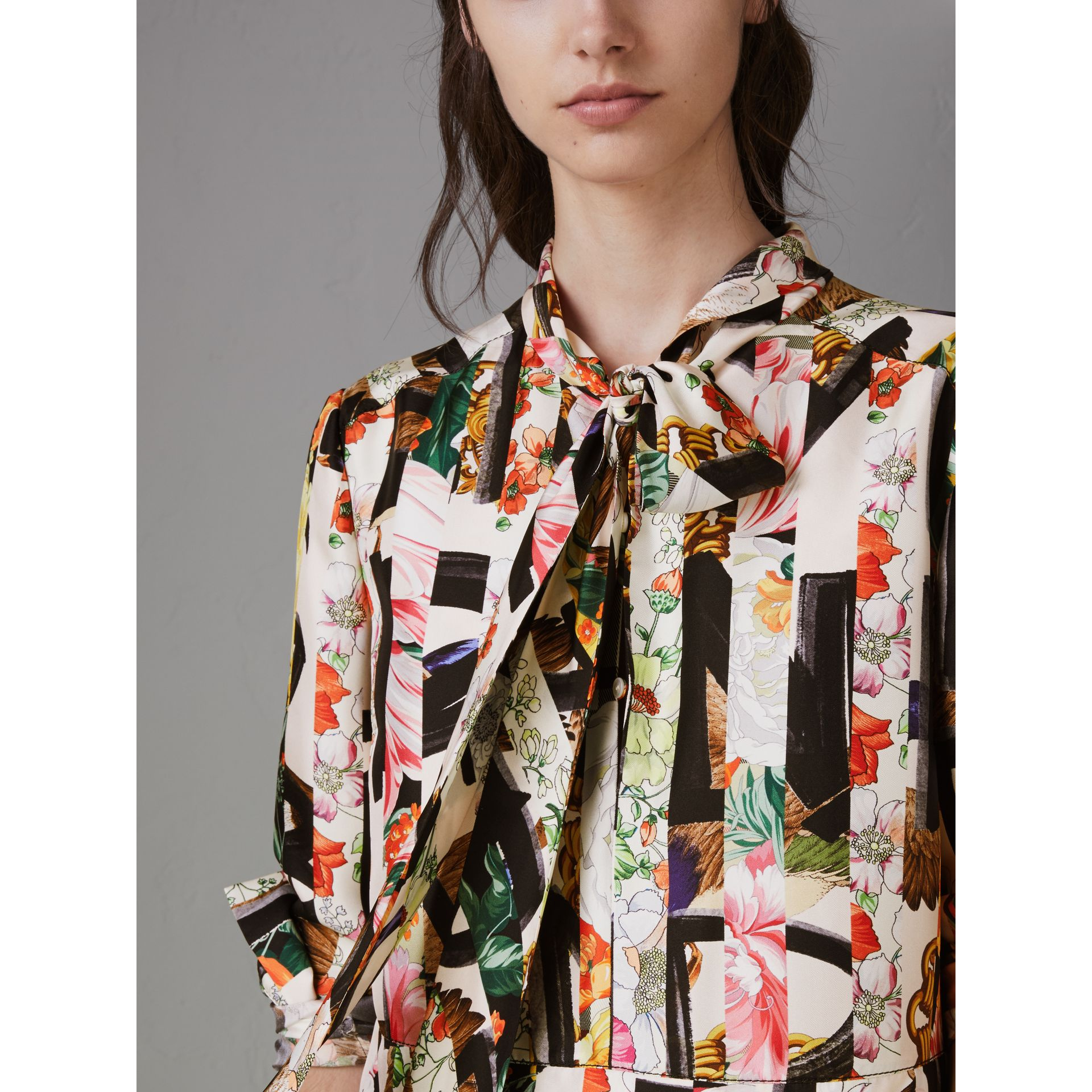Graffiti Archive Scarf Print Silk Tie-neck Dress in Multicolour - Women | Burberry - gallery image 1