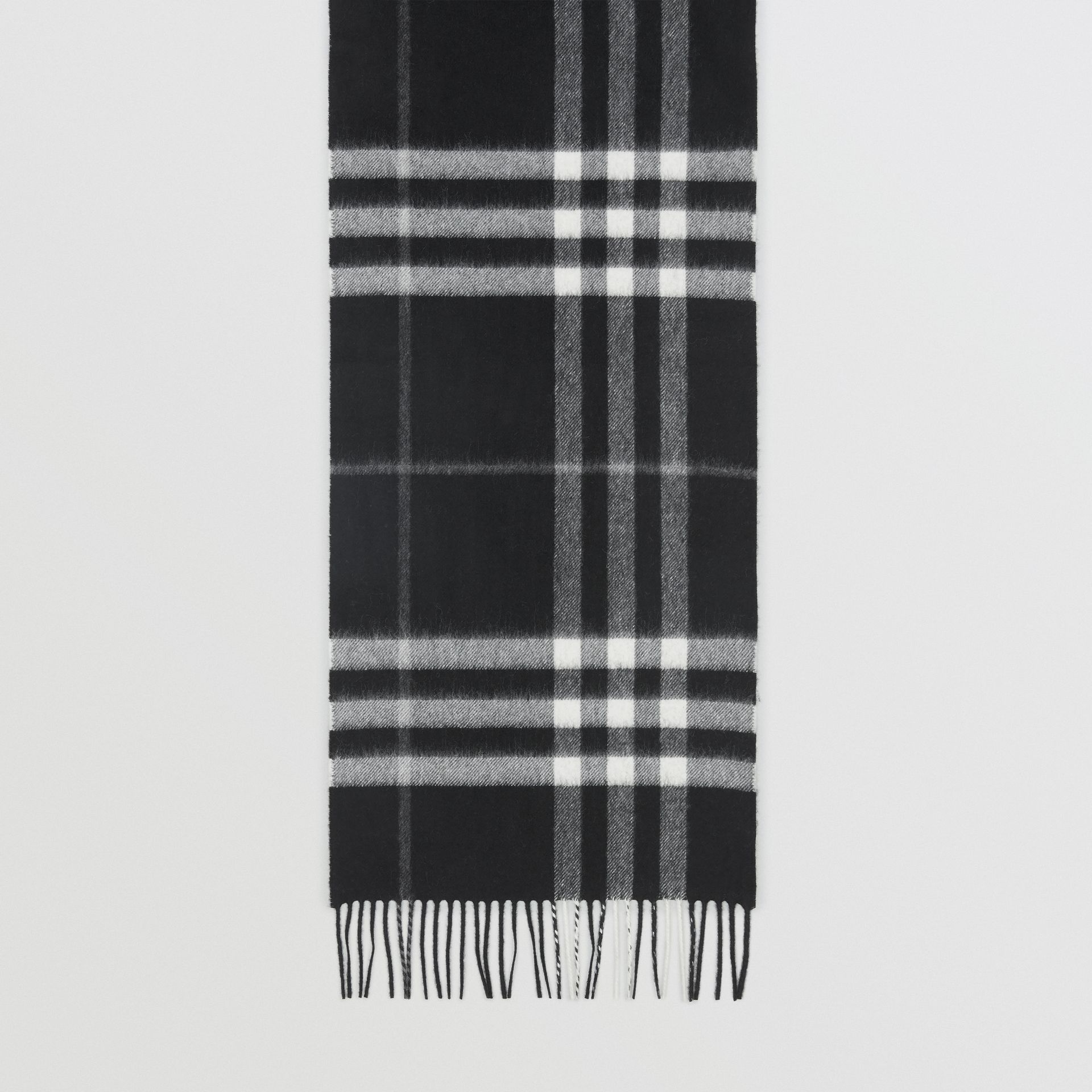 The Classic Check Cashmere Scarf in Black | Burberry - gallery image 2