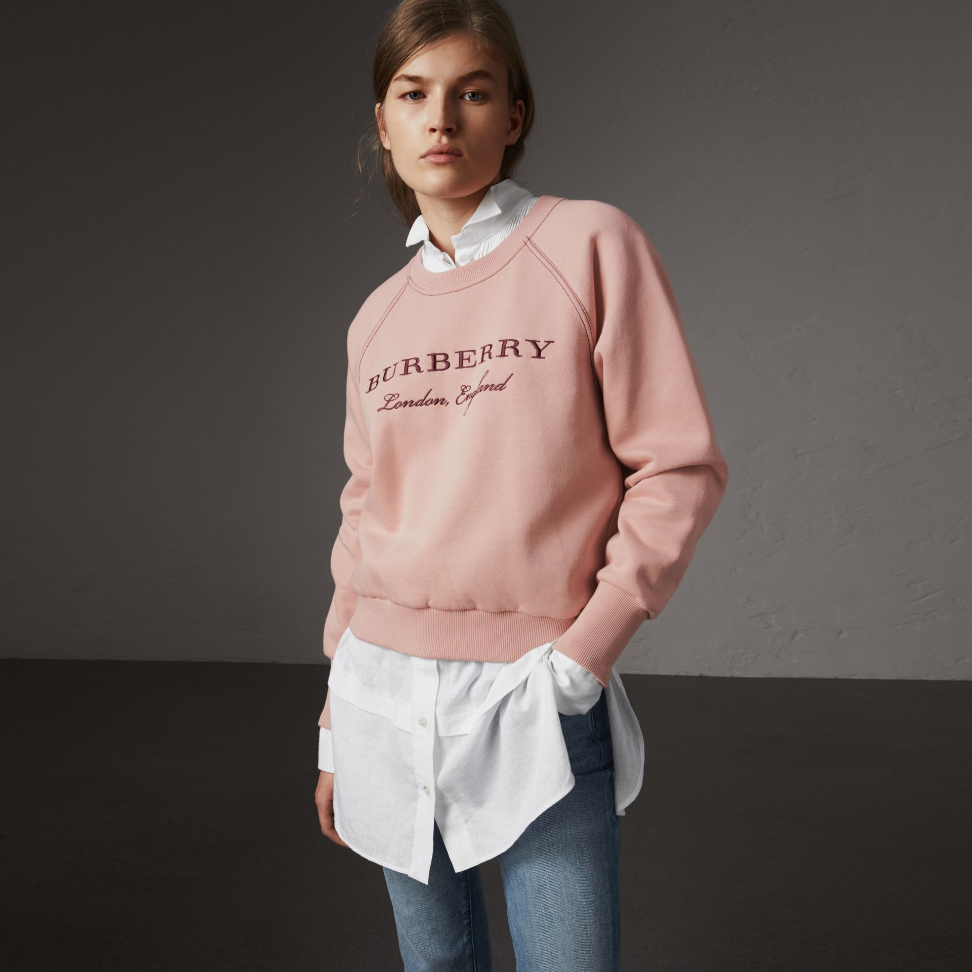 Embroidered Cotton Blend Jersey Sweatshirt in Ash Rose - Women | Burberry - gallery image 0