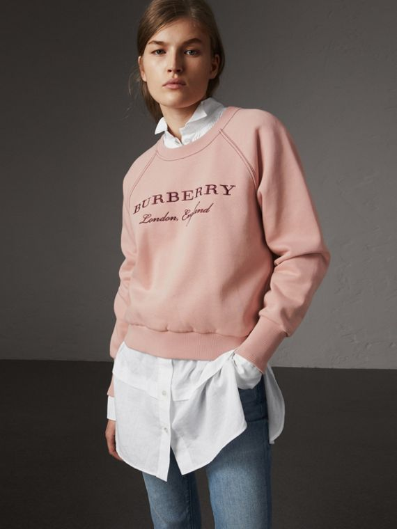 Embroidered Cotton Blend Jersey Sweatshirt in Ash Rose