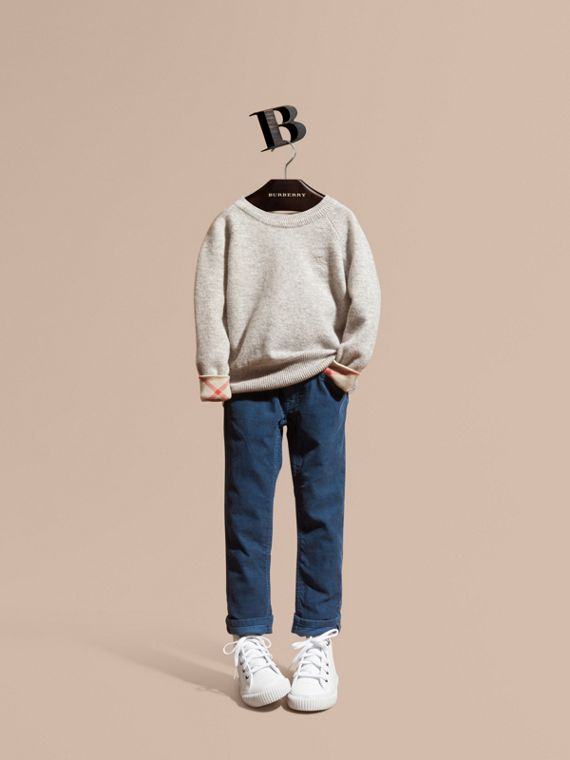 Check Detail Cashmere Sweater in Light Grey Melange - Girl | Burberry
