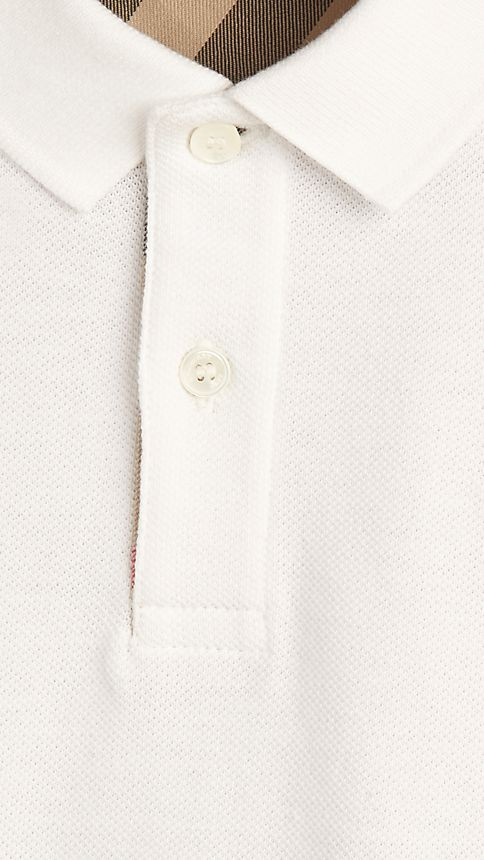 White Check Placket Polo Shirt - Image 3