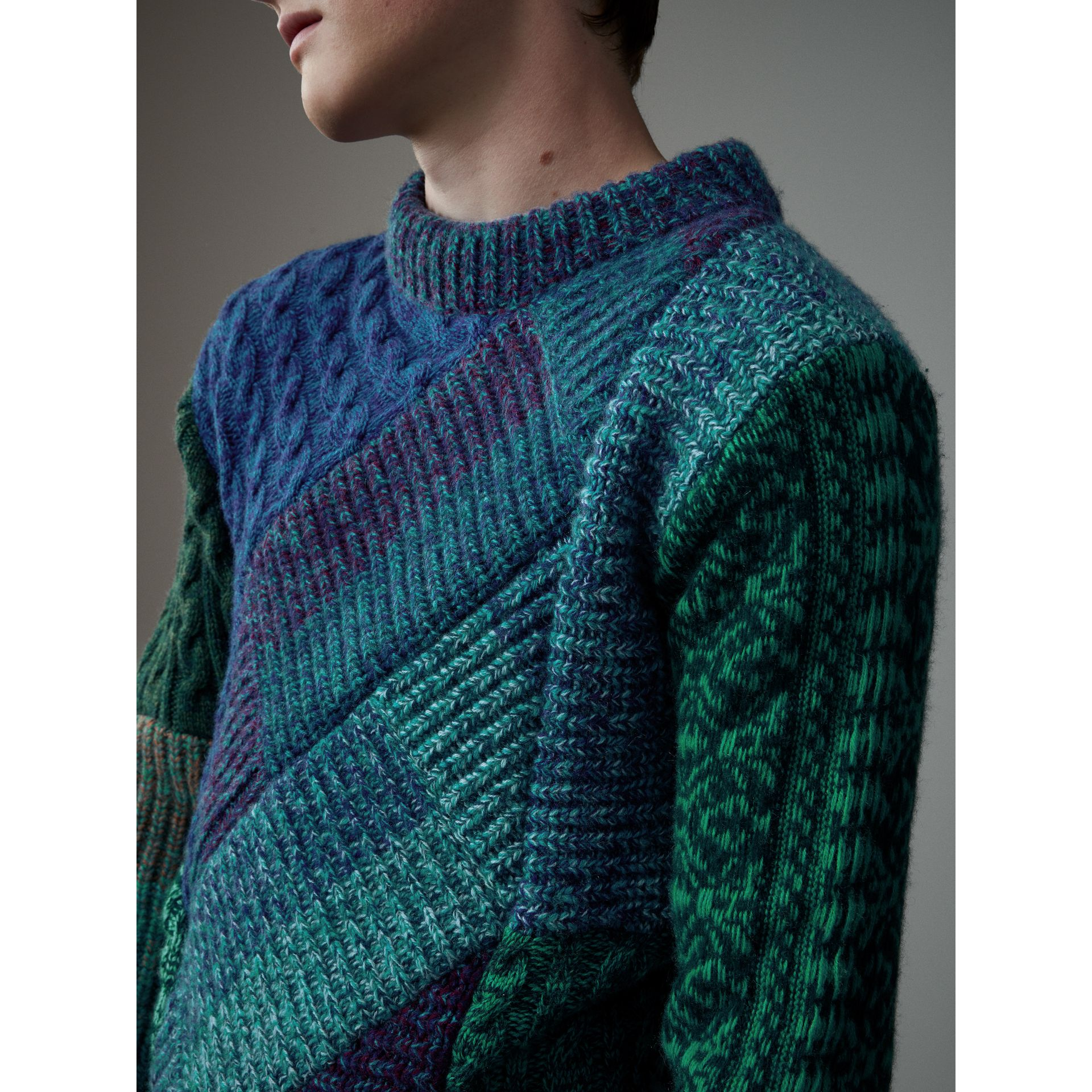 Cashmere Wool Mouliné Patchwork Sweater in Hydrangea Blue - Men | Burberry - gallery image 4