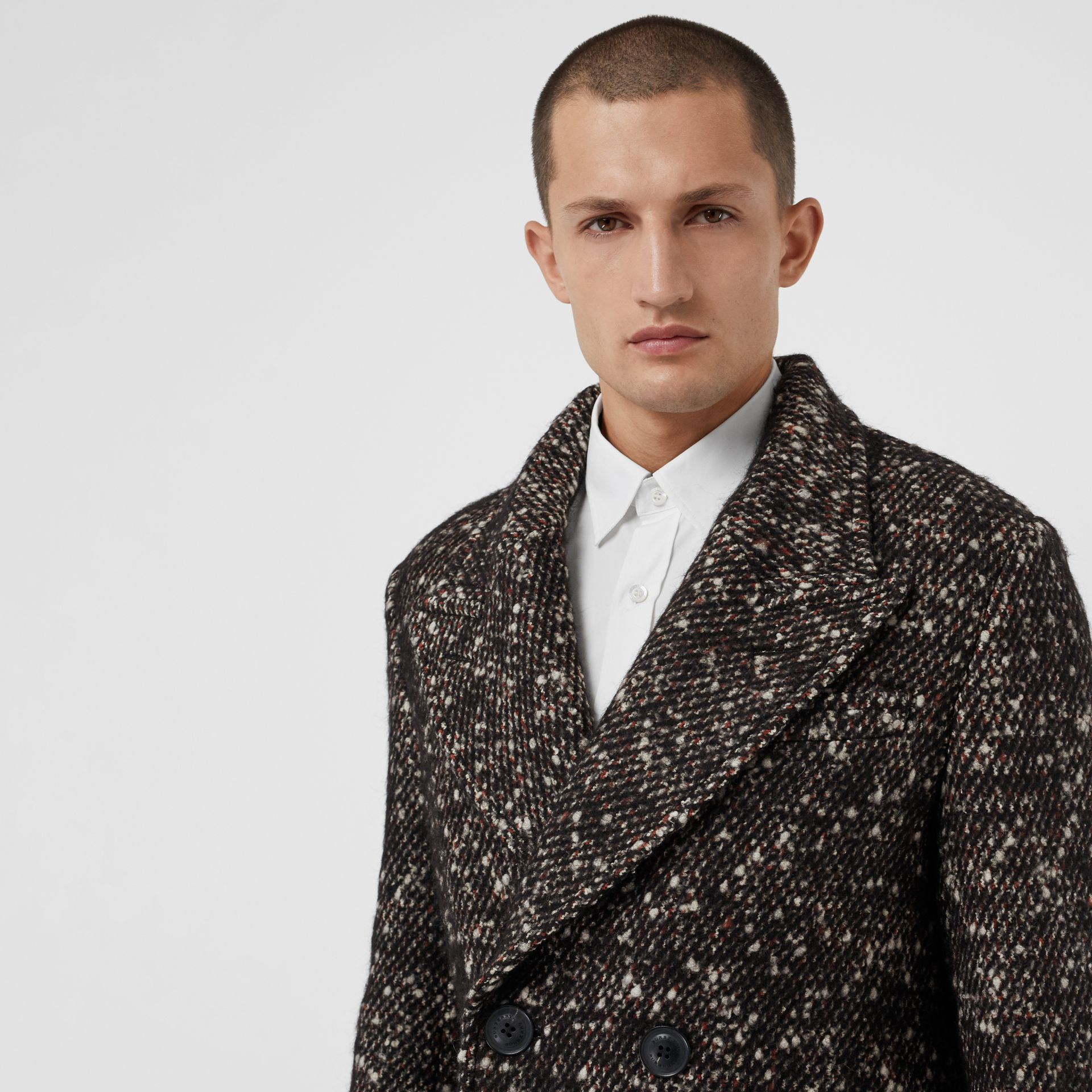 Wool Mohair Blend Tweed Tailored Coat in Black - Men | Burberry - gallery image 1