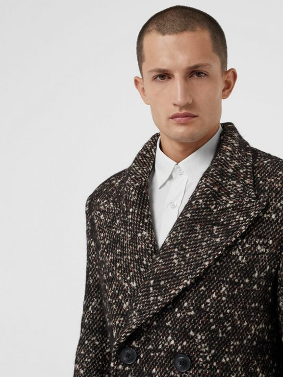 Wool Mohair Blend Tweed Tailored Coat in Black - Men | Burberry - cell image 1