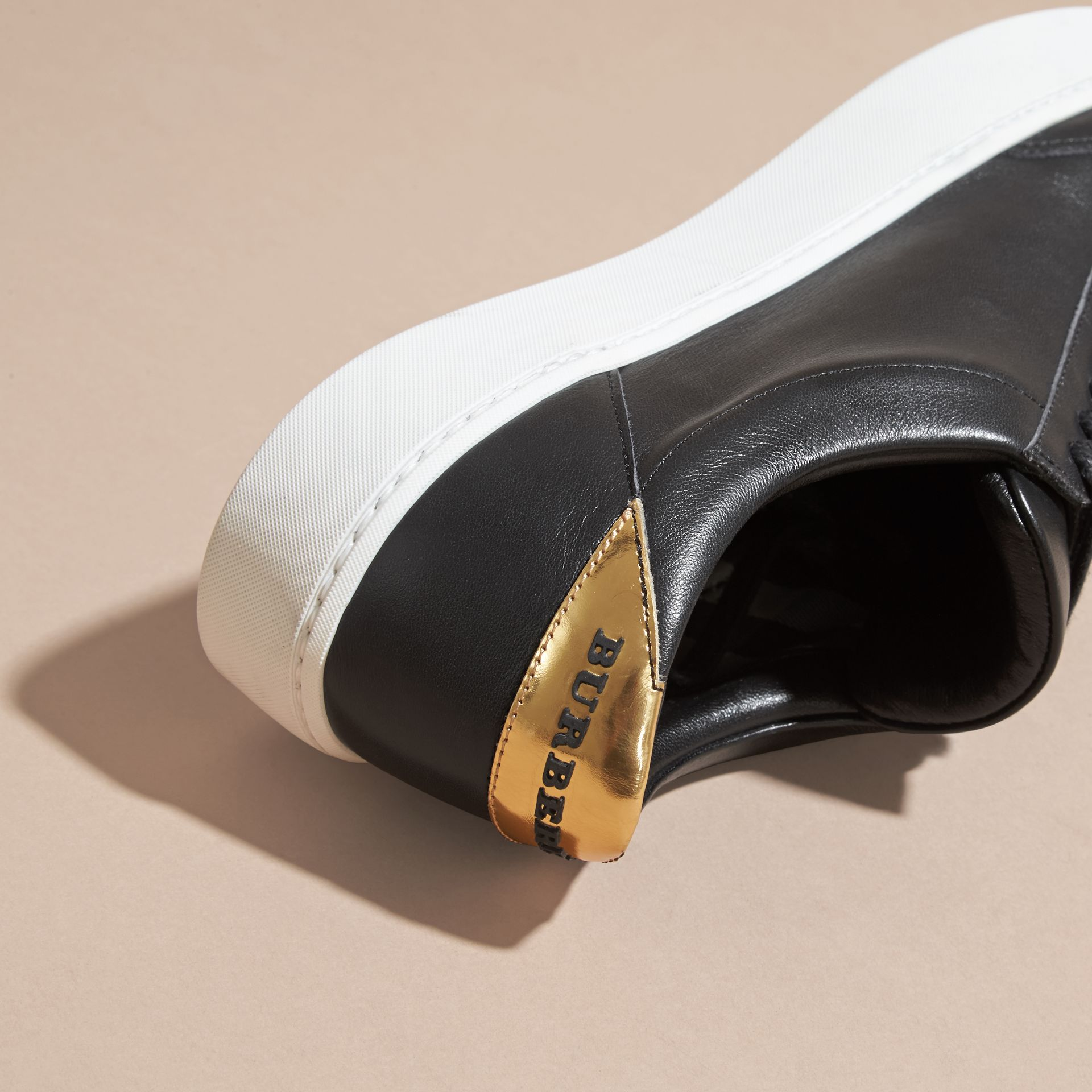 Metallic Detail Leather Trainers in Antique Gold/black - gallery image 2