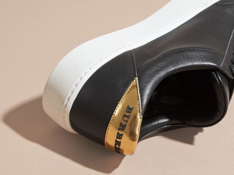 Metallic Detail Leather Trainers in Antique Gold/black - cell image 1