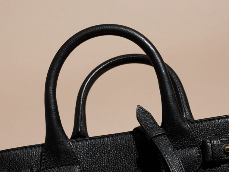 The Small Banner in Leather and House Check in Black - Women | Burberry - cell image 1