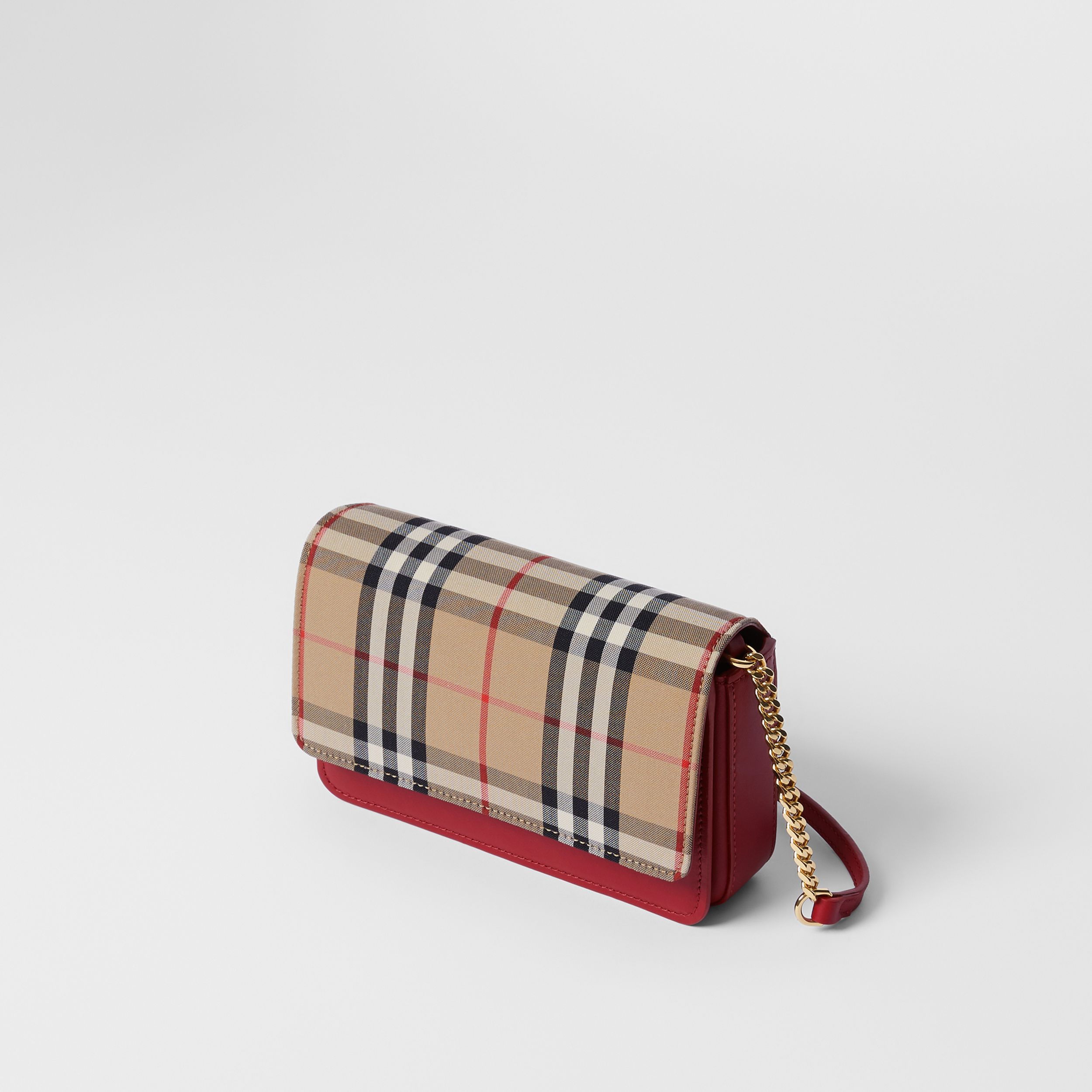 Vintage Check Canvas and Leather Bag in Parade Red - Women | Burberry - 4